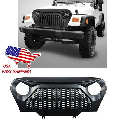For Jeep Wrangler TJ Front Gloss Black Gladiator Grill Mesh Grille 1999-2006