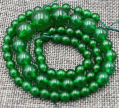 """new Exquisite 6-14mm Green Jade Gems Jewelry Loose beads 17"""""""