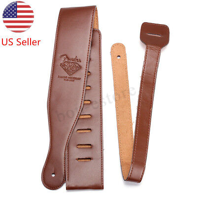 USA Brown Adjustable Soft Leather Thick Strap for Electric Acoustic Guitar Bass
