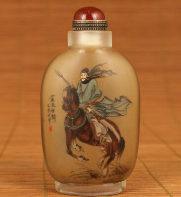 glass hand inside painting guangong changbanpo statue snuff bottle collectable