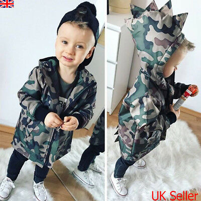 UK Infant Kids Baby Boys Camouflage Hoodies Dinosaur Zip Hooded Jacket Coat Tops