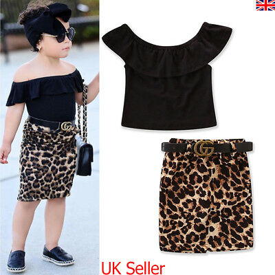 UK Toddler Kids Baby Girls Outfits Tops T Shirt Leopard Dress Party Clothes 2-7Y