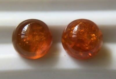 2x Pressed Amber- 6mm Round Cabs- Good Honey Colour