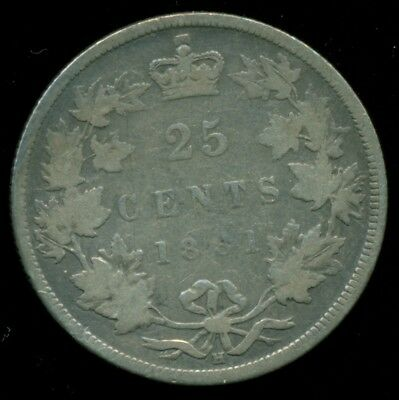 1881H Canada 25 Cent Piece, Queen Victoria, Original Sterling  PR67