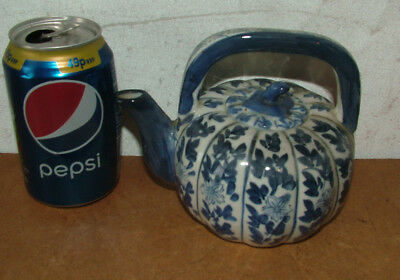 Chinese  Kangxi 19th Century Hand Painted Blue & White Teapot Signed