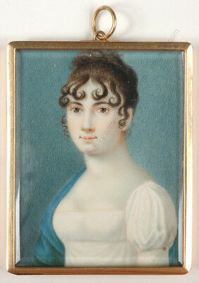 """""""Golden locket with portrait of a young lady"""", French miniature, ca. 1810"""