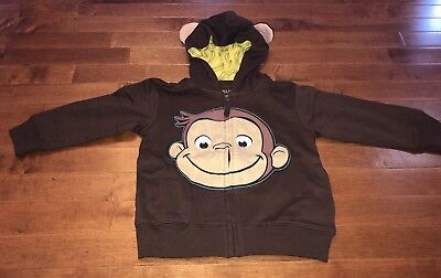 Curious George Toddler Boy Hooded Jacket New 3T