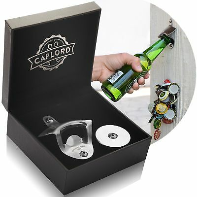 Bottle Opener Wall Mount with Magnetic Cap Catcher, Stainless Steel, by CAPLORD,