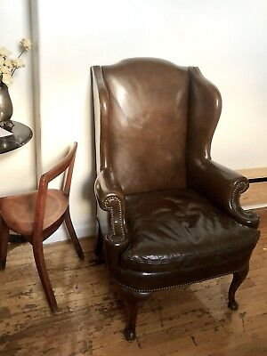 Antique Leather Wing Back Chair