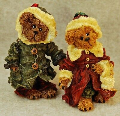 Boyds Bears 1998 Bailey & Matthew Bearstone Ornament Set #9227Rsn - Mib