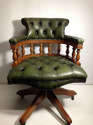 Green Leather Buttoned Chesterfield Directories Captains Chair
