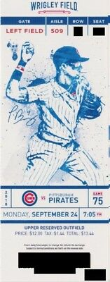 CHICAGO CUBS v PITTSBURGH PIRATES TICKET STUB 9/24/2018 @ WRIGLEY FIELD