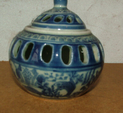 Rare Antique Chinese Hand Painted Blue & White Signed Oil Lamp Lantern