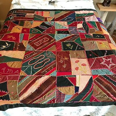 Antique Crazy Quilt Lots of Embroidery Initials Mama Bird Flower 78x72 VGC