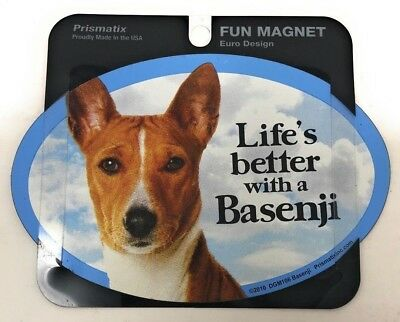 LIFE'S BETTER WITH AN BASENJI MAGNET  Dogs,Gifts, Cars, Trucks. Lockers