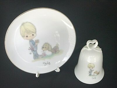 Precious Moments  July  Plate / Bell   Boy with Dog   Excellent. Free Ship