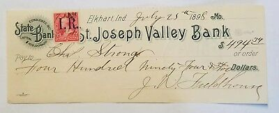 Obsolete 1898 Elkhart, IN Indiana St. Joseph Valley Bank Check W/ 2 Cent Stamp