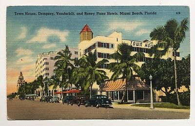 Fl Postcard Miami Beach Florida Collins Ave Hotels 19th To 23rd Streets Roney