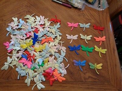 """(93) Puffy 3"""" COLORFUL Dragonflies Dragonfly for crafts LOOK"""