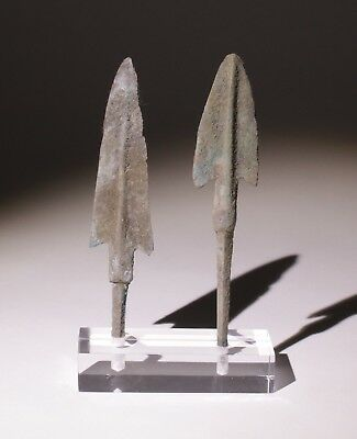 2 X Museum Quality Bronze Age Arrowheads Luristan,persia 1200-800Bc   0103