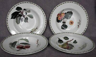 Queen's, RHS, 4 rimmed cereal bowls, Hookers Fruit, Cherry, Pear, Peach, Apricot