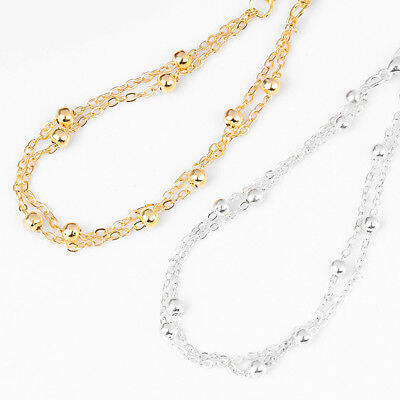 1Pc Fashion Stainless Steel Bead Bracelet Chain Silver/Gold Smooth Ankle Anklets