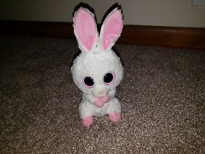 """Ty Beanie Boo Boos Carrots the White Bunny Rabbit 6"""" Solid Eyes Retired"""