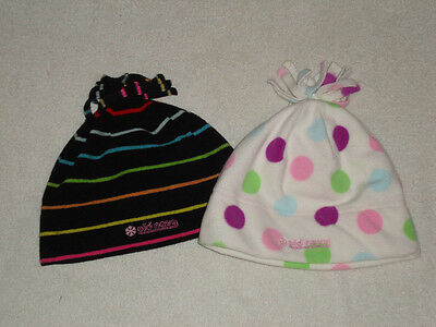 New Old Navy 2 girls hats fleece sz large white w blue pink dots black w stripes