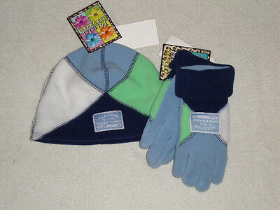 New Mudd All Star Board Babes hat gloves fleece blue green white girls one size