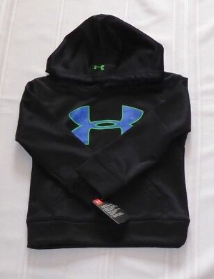 NEW Authentic Under Armour Boy's Big Logo Black Pullover Hoodie 4 NWT $39.99