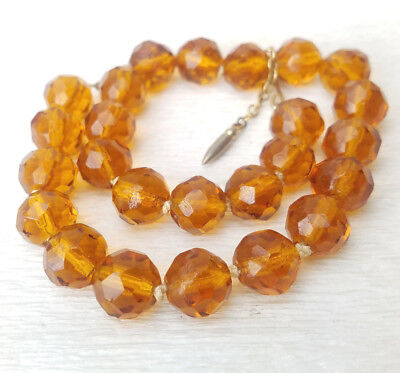 """VTG Transparent Amber Rootbeer Brown Faceted Handcut Glass Beads Necklace 16"""""""