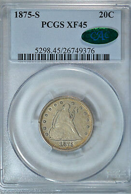 1875 S 20 cent, PCGS XF45 CAC