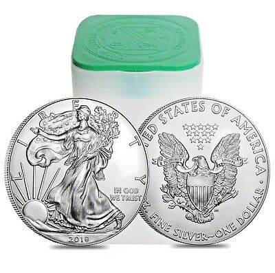 Roll Of 20 - 1 oz American Silver Eagle Coins, .999 Pure Silver BU- In Mint Tube