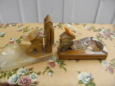 Vintage Pair Of Heavy Onyx Mexican Bookends Ash Tray Sombrero Siesta
