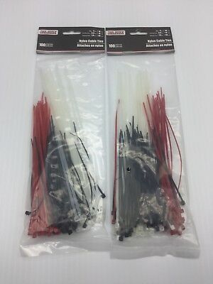 "2x 100 Count Multi Pack Zip Ties Nylon Cable Ties 4"" 6"" 8"" Black Red White"