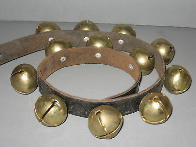 Christmas Sleigh Bells 30 inch Strap of 12 Brass Bells Vintage