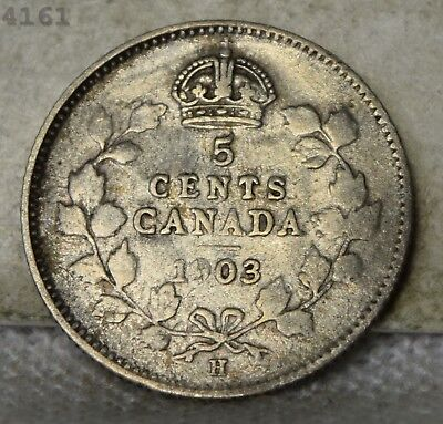 1903-H *Silver* Canada 5 Cents *Free S/H After 1st Item*