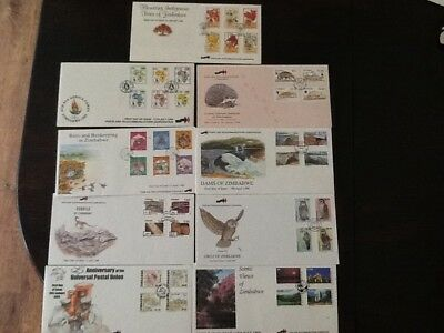 COLLECTION OF 9 ZIMBABWE FIRST DAY COVERS WITH INSERTS,1990s,UNADRESSED (SEPT22)