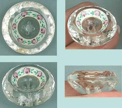 Antique Hand Painted Faceted Glass Button * English * Circa 1900