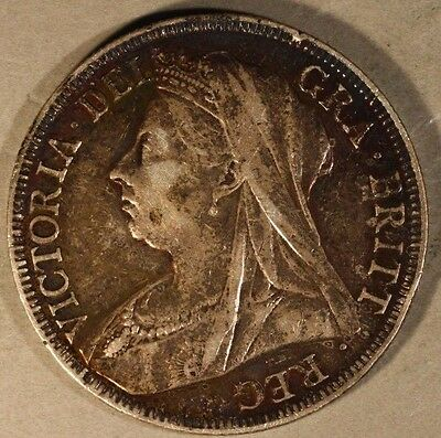 1898 Great Britain Half Crown Silver Nice Details Toned ** FREE U.S. SHIPPING **