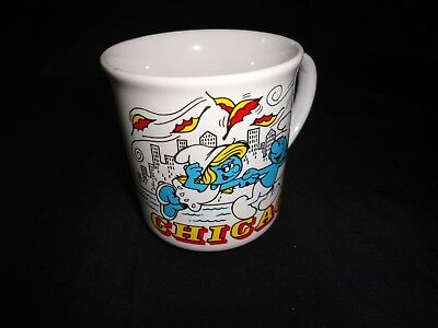 1982 CHICAGO Smurf Coffee/Tea Mug Smurf Travels America - Windy City!