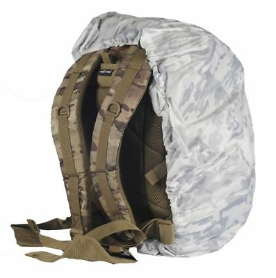White Winter Camouflaged Militaria Multicam Alpine Cover backpack 25 - 45 liters
