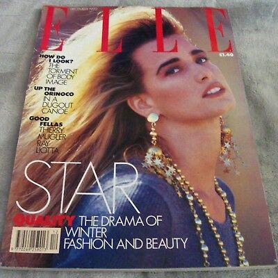 ELLE MAGAZINE UK December 1990 HELENA CHRISTENSEN Thierry Mugler VINTAGE UK DATE