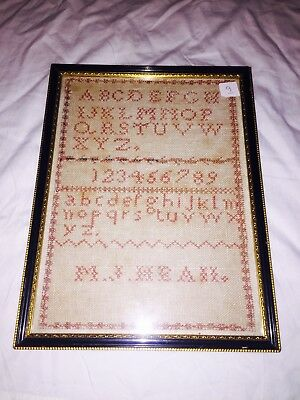 Vintage Antique Late 18th Early 19th C Alphabet Sampler by M J Heaii