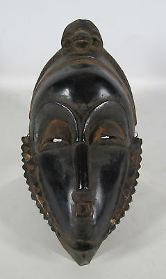 VTG African Yaure Tribe Carved & Painted Wood Face Mask Turtle Côte d'Ivoire yqz