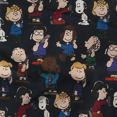 """PEANUTS SNOOPY & FRIENDS Black Novelty Necktie 4"""" W 59"""" L Silk Made in the USA"""