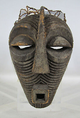 Vintage African Songe Tribe Hand Carved Wooden Passport Face Mask Zaire NR yqz