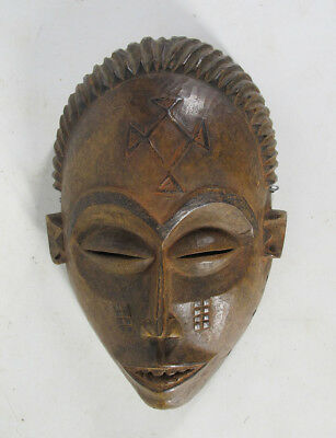 "Vintage African Chokwe Tribe Hand Carved & Painted 9"" Wood Face Mask Zaire yqz"