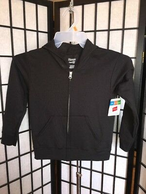 Hanes Boy's Size Small 6-7 Solid Black Full Zip Graphic Hoodie w/Fresh IQ NWT