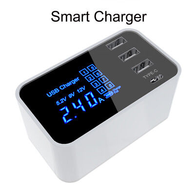 4 Port USB Type-C Multi-Function Fast Rapid Charging Charge Adapter Wall Charger